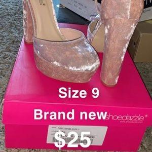 Suede pale pink heels